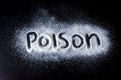 Salt Scattered On Black Surface. Written Word- Poison. Concept- Healthy Food, Diet, Harm To Health F poster