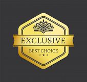 Exclusive Best Choice Premium Quality Golden Label With Crown, Gold Seals Isolated On Black Vector I poster