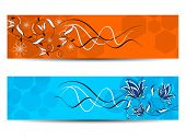 set of creative floral artwork header or banners in yellow & blue colors  for all occasions