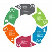 6 Step Vector Element In Six Colors With Labels, Infographic Diagram. Business Concept Of 6 Steps Or poster