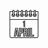 April 1, April Fools Day Calendar Icon In Outline Style On A White Background poster