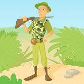 Hunter With Rifle On Shoulder Concept. Hunter Man Standing On The Savannah Background poster