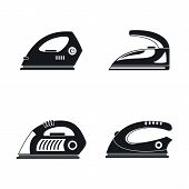Smoothing Iron Drag Appliance Icons Set. Simple Illustration Of 4 Smoothing Iron Drag Appliance Icon poster