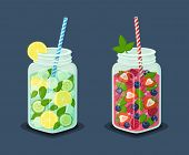 Set Of Mugs Refreshing Drinks With Fresh Strawberry, Raspberries And Blueberries, Leaves Of Mint, Le poster