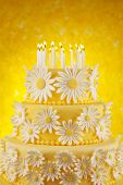 Daisy birthday cake with candles