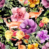 Antelope Animal In Flowers. Repeating Floral Pattern On Contrast Black Background. Watercolor poster