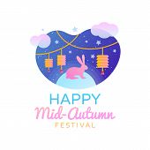 Chinese Mid Autumn Festival Template Design. Happy Mid Autumn Festival Greting Card In Trendy Modern poster
