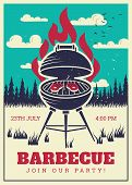 Vintage Bbq Grill Party Poster. Delicious Grilled Burgers, Family Barbecue Vector Invitation Card. B poster