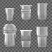 Empty Transparent Plastic Disposable Cups. Takeaway Drink Containers Isolated Vector Set. Illustrati poster