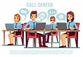 Group Of Operators With Headset Supporting People In Call Center Office. Business Support And Telema poster