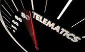 Telematics Automotive Connectivity Vehicle Technology Speedometer Word 3d Illustration poster