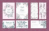 Wedding Card Templates Set With Eucalyptus Branch. Decorative Frames With Leaves, Floral And Herbs G poster