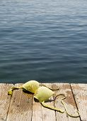Bikini top on wooden dock