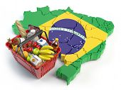 Market basket or consumer price index in Brazil. Shopping basket with foods on the map of Brazil. 3d poster