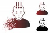 Neural Interface Icon With Face In Fractured, Pixelated Halftone And Undamaged Whole Versions. Parti poster