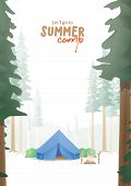 Summer Camp A4 Poster That The Blue Camp Is Middle In The Forest Illustration Vector. Camping Concep poster