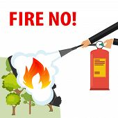 Hands With A Fire Extinguisher Extinguish A Fire. A Hand With A Fire Extinguisher Extinguishes A For poster