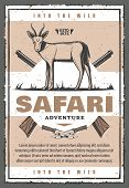 African Antelope Animal With Hunter Rifle Vintage Banner For Safari Adventure Template. Gazelle, Wea poster