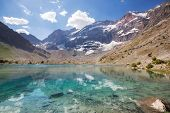 Beautiful serene lake in  Fann mountains (branch of Pamir) in Tajikistan. poster
