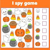 I Spy Game For Toddlers. Find And Count Objects. Counting Educational Children Activity. Halloween T poster