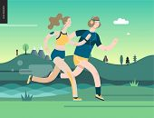 Runners - Runners In The Park - Flat Vector Concept Illustration Of Young Man And Woman With Headpho poster