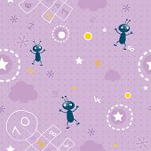baby wallpaper- seamless pattern of clouds,  	hopscotch, numbers and little bugs vector background