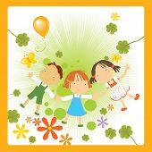 ilustração em vetor de três crianças felizes segurando suas mãos, apreciando a natureza flores e borboletas