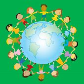 Children's day. multi-ethnic group of happy kids holding their hands around the globe vector illustration