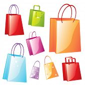 colorful fancy shopping bags vector illustration on white background