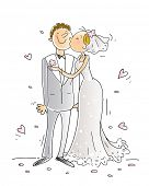 wedding congratulations card vector illustration, happy couple kissing, cartoon characters