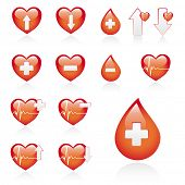 low and high blood pressure, vector medical heart icons set, isolated on white background-