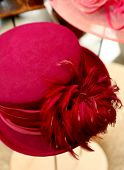Magenta Hat With Feathers