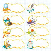 education vector banners and labels, back to school theme