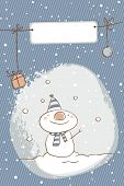snowman christmas card, vector cartoon illustration, blank label