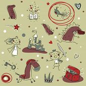 kids drawing seamless pattern background, children's story book theme