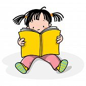 foto of girl reading book  - girl reading a book - JPG