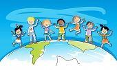 happy kids on top of the world, multiracial friends, watercolor style, grouped and layered for easy