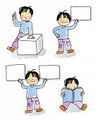school kids holding blank sign, cartoon boy watercolor style series. grouped and layered for easy editing