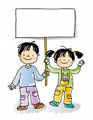 boy and girl holding blank sign, cartoon kids watercolor style series. grouped and layered for easy editing