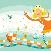happy girl playing, creativity cube game