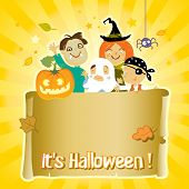 Kids in Halloween costumes with paper scroll banner