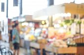 Blurred Background, Blur Supermarket, Grocery Store With People, Business Background Concept poster
