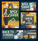 Back To School Banners With Geography Teacher And Bus, Stationery And Sport Items. Textbook And Glob poster