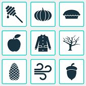 Seasonal Icons Set With Tree, Pine Cone, Fruit And Other Timber Elements. Isolated  Illustration Sea poster