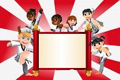 stock photo of karate  - A vector illustration of a banner with kids practicing karate - JPG