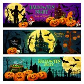 Halloween Night Trick Or Treat Banner Set With October Holiday Pumpkin. Spooky House, Cemetery And Z poster