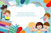 Kids Reading Books, Back To School, Education Concept, Template For Advertising Brochure, Your Text, poster