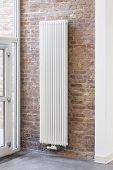 Radiator In Interior Of House, White Elegant Home Heater In House, Modern Heating, Warm Heating, Sym poster