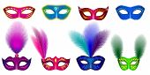 Carnival Mask Venetian Mockup Set. Realistic Illustration Of 8 Carnival Mask Venetian Mockups For We poster