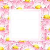 Pink Indian Lotus Banner Card. Nelumbo Nucifera,sacred Lotus, Bean Of India, Egyptian Bean. National poster